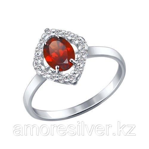 Кольцо SOKOLOV серебро с родием, гранат фианит  92010989