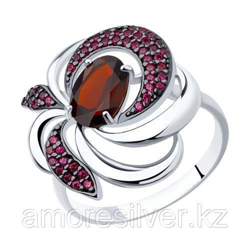 Кольцо SOKOLOV серебро с родием, гранат корунд синт. 92011427