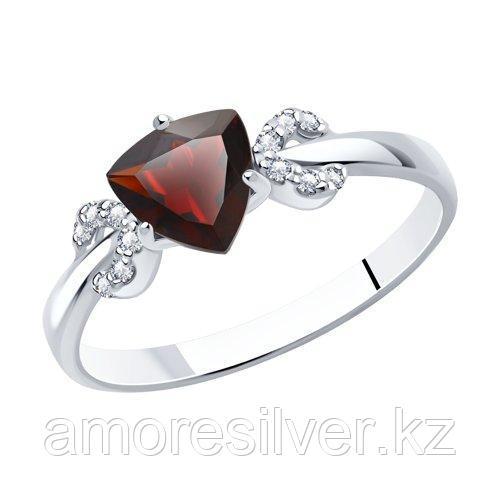 Кольцо SOKOLOV серебро с родием, гранат фианит  92011040