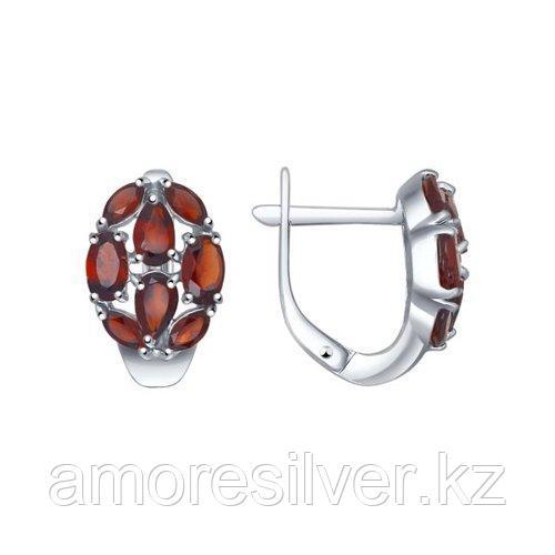 Серьги SOKOLOV серебро с родием, гранат 92021239