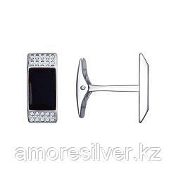 Запонки SOKOLOV серебро с родием, эмаль фианит  94160039