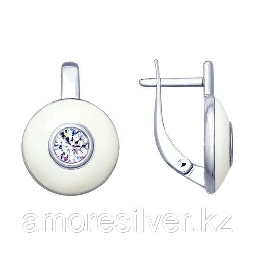 Серьги SOKOLOV серебро с родием, эмаль фианит  94022961
