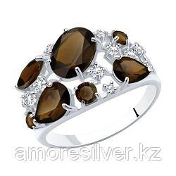 Кольцо SOKOLOV серебро с родием, раух-топаз фианит  92010222 размеры - 18,5