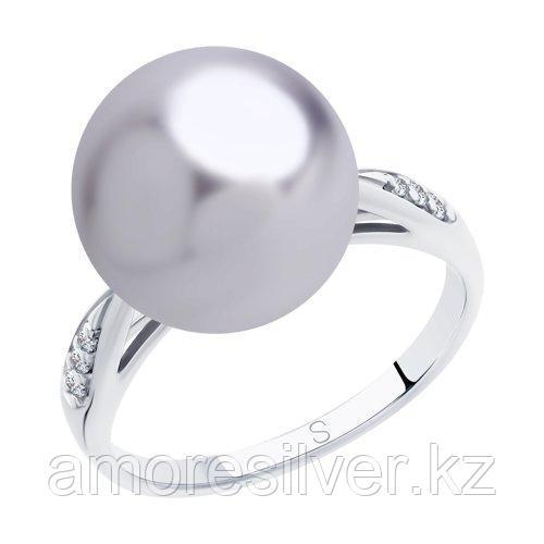 Кольцо из серебра с сиреневым жемчугом Swarovski и фианитами    SOKOLOV 94012890