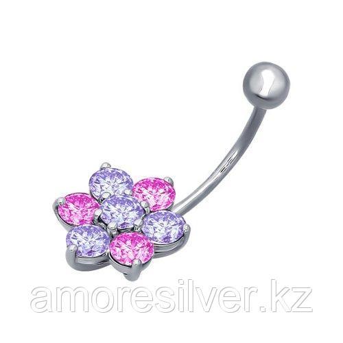 Пирсинг в пупок из серебра с сиреневыми и розовыми фианитами  SOKOLOV 94060047