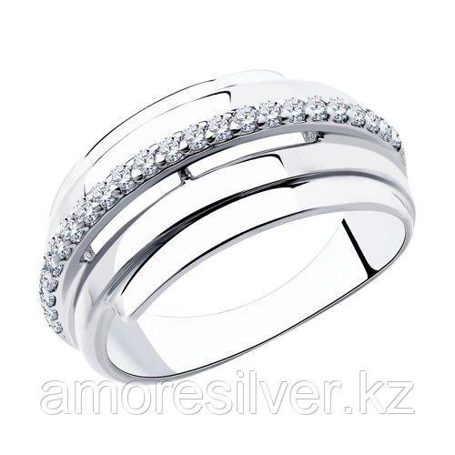 """Кольцо DIAMANT ( SOKOLOV ) серебро с родием, фианит, """"линии"""" 94-110-00426-1 размеры - 17,5"""