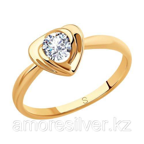 Кольцо SOKOLOV серебро с позолотой, фианит  93010812 размеры - 17,5 18,5