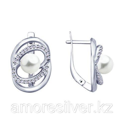 Серьги SOKOLOV серебро с родием, фианит  жемчуг синт. 94023414
