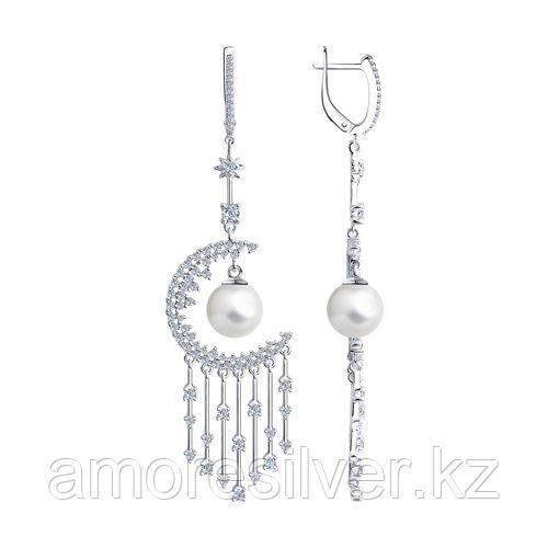 Серьги SOKOLOV серебро с родием, фианит  жемчуг синт. 94023820