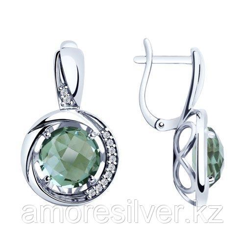 Серьги SOKOLOV серебро с родием, кварц синт. фианит  92022057