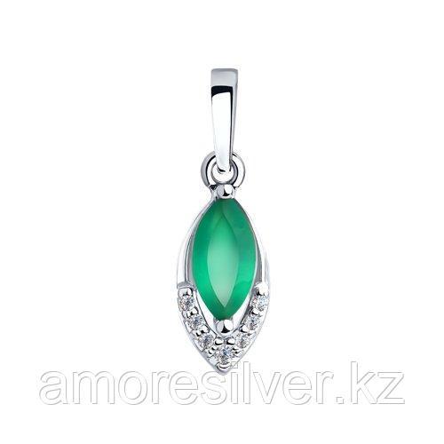 Подвеска SOKOLOV серебро с родием, агат зеленый фианит  92030575