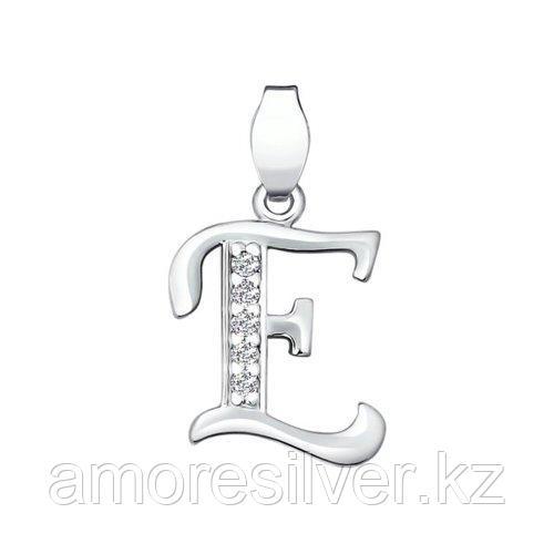 Подвеска-буква SOKOLOV серебро с родием, фианит  94030452