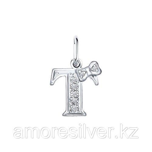 Подвеска-буква SOKOLOV серебро с родием, фианит  94030479