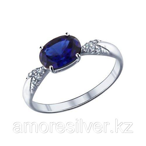 Кольцо SOKOLOV серебро с родием, фианит  корунд синт. 88010002 размеры - 17 17,5 18