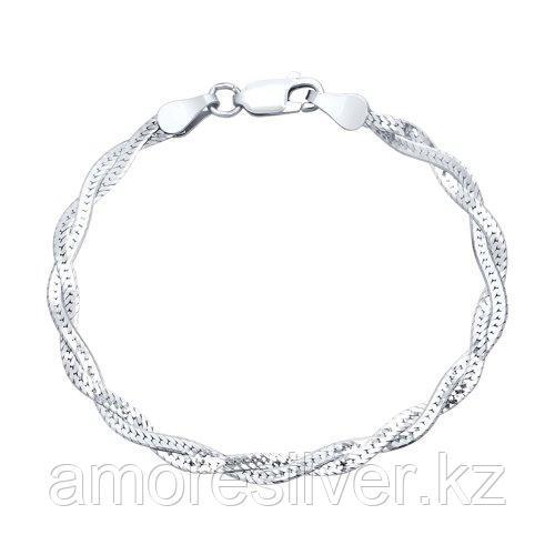 Браслет SOKOLOV серебро с родием, без вставок 94054572 размеры - 17