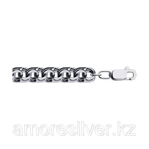 Браслет SOKOLOV из черненного серебра, без вставок, бисмарк 995141504 размеры - 24