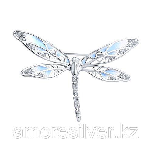 Брошь SOKOLOV серебро с родием, эмаль фианит  94040127