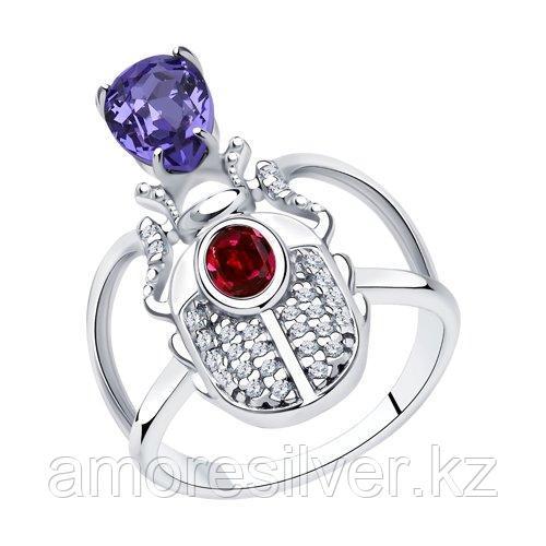 Кольцо SOKOLOV серебро с родием, кристалл swarovski  фианит  94013122