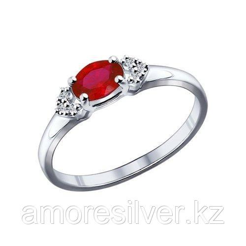 Кольцо SOKOLOV серебро с родием, фианит  корунд синт. 84010015