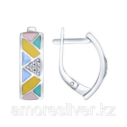 Серьги SOKOLOV серебро с родием, эмаль фианит  94022283