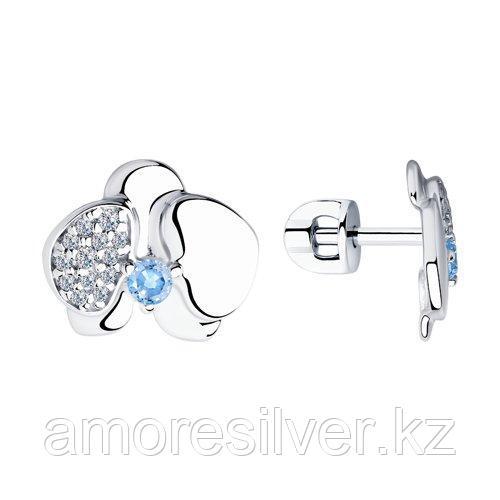 Серьги SOKOLOV серебро с родием, фианит , пусеты 94023571