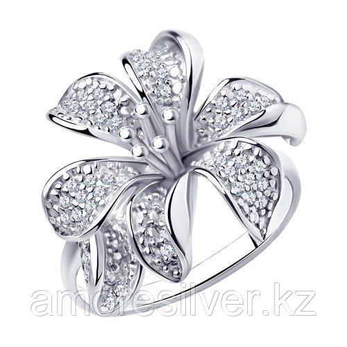 Кольцо SOKOLOV серебро с родием, фианит  94010675