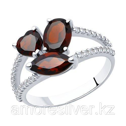 Кольцо SOKOLOV серебро с родием, гранат фианит  92010923