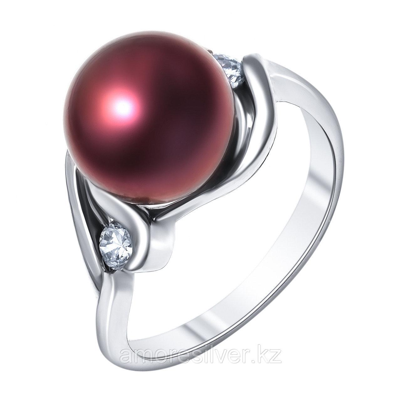 """Кольцо ЮК """"Серебро"""" серебро с родием, жемчуг черный культ. фианит, многокаменка MR3171-BL"""