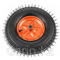 Колесо пневматическое усиленное, шина 8PR, 4.00-8 D400 мм, внутренний диаметр подшипника 20 мм, длина оси 90