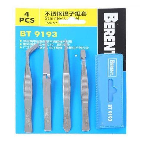 Набор монтажных пинцетов для точных работ с чехлом-органайзером Berent Tools BT9193 - фото 1