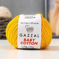 "Пряжа ""Baby Cotton"" 60% хлопок, 40% полиакрил 165м/50гр (3417 жёлтый)"