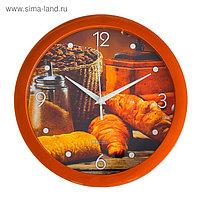 """Часы настенные, серия: Кухня, """"Круассан с кофе"""", 28 × 28 см"""