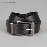 Ремень мужской, ширина - 3 см, пряжка тёмный металл, цвет чёрный