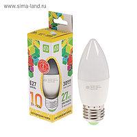 """Лампа светодиодная ASD, Е27, 10 Вт, 210 - 240 В, 3000 К, 900 Лм, """"свеча"""""""
