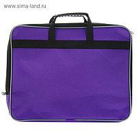 Папка с ручками текстиль А4, 30 мм, 360 х 260 мм, «Офис», 1Ш41, с карманом «Рант тесьма», фиолет
