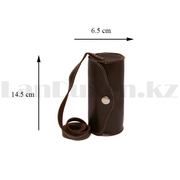 Набор рюмок 4 шт с кожаным чехлом на ремешке 170 мл темно-коричневого цвета - фото 3