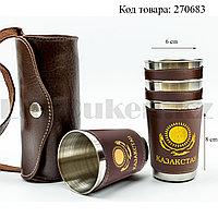 Набор рюмок 4 шт с кожаным чехлом на ремешке 170 мл темно-коричневого цвета