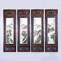 Фарфоровые картины в резных рамах. Китай. Первая половина- середина 20го века.