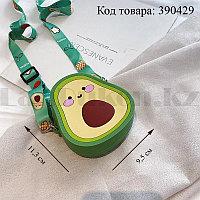 Сумка кошелек силиконовый на молнии с ремешком Авокадо (9,5*11,3*4см)