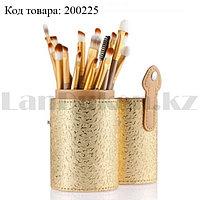 Набор профессиональных кистей для макияжа NAKED2 цвет золото с узорами (12 шт)