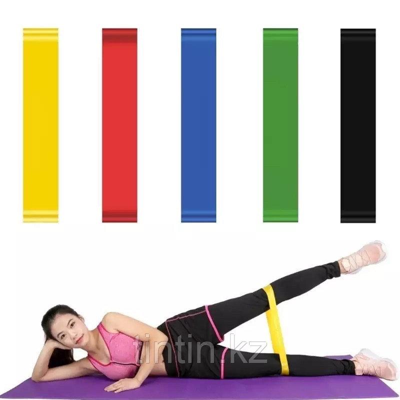 Эластичные ленточные эспандеры для фитнеса и пилатеса (фитнес резинка/лента) 60х5 см. В наборе 5 шт - фото 3