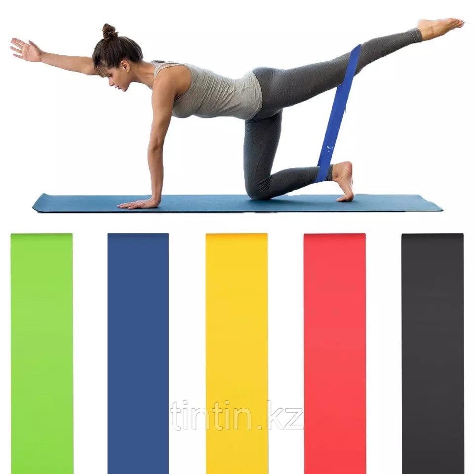Эластичные ленточные эспандеры для фитнеса и пилатеса (фитнес резинка/лента) 60х5 см. В наборе 5 шт - фото 2