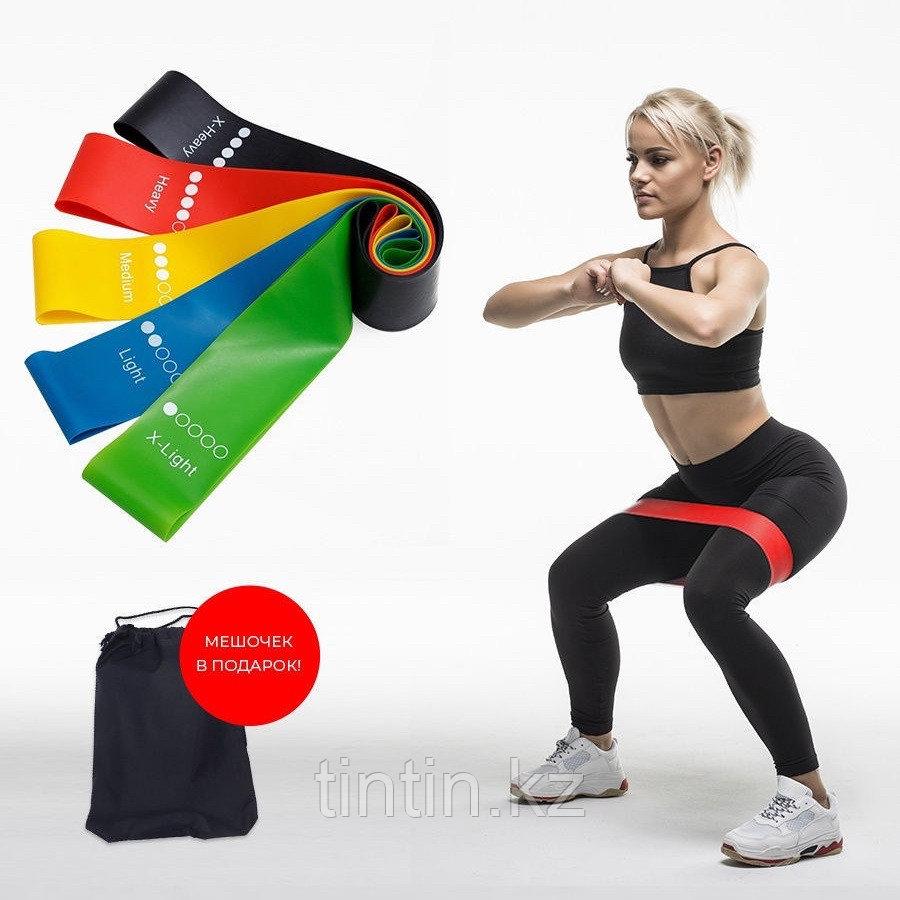 Эластичные ленточные эспандеры для фитнеса и пилатеса (фитнес резинка/лента) 60х5 см. В наборе 5 шт - фото 1