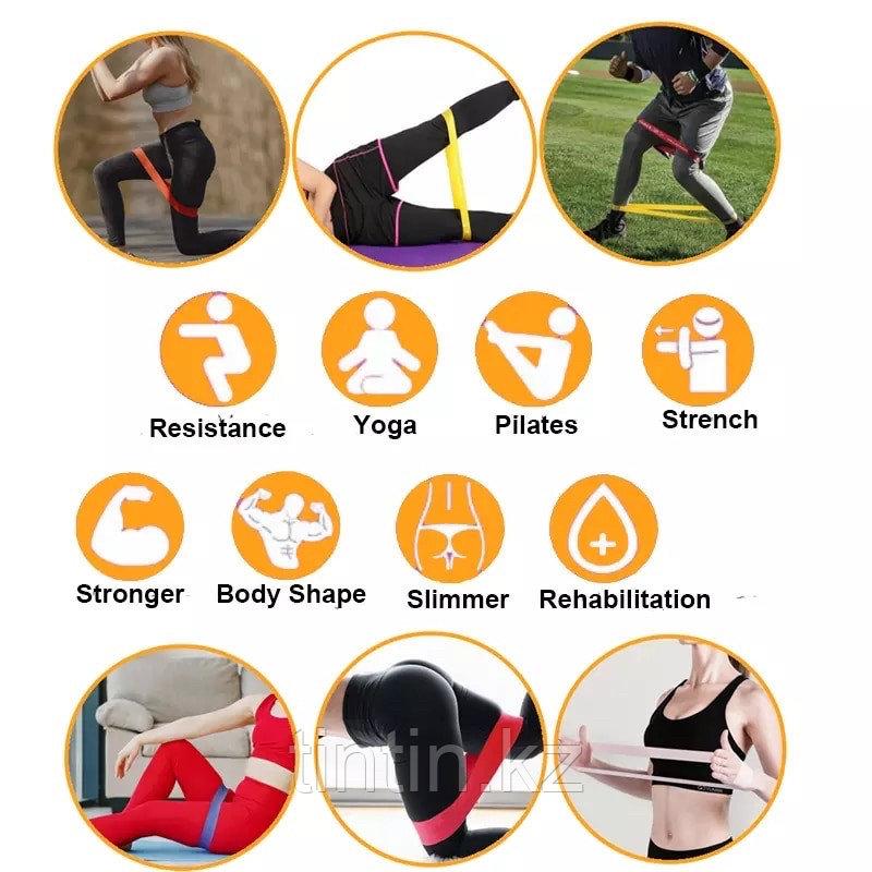 Эластичные ленточные эспандеры для фитнеса и пилатеса (фитнес резинка/лента) 60х5 см. В наборе 5 шт - фото 6