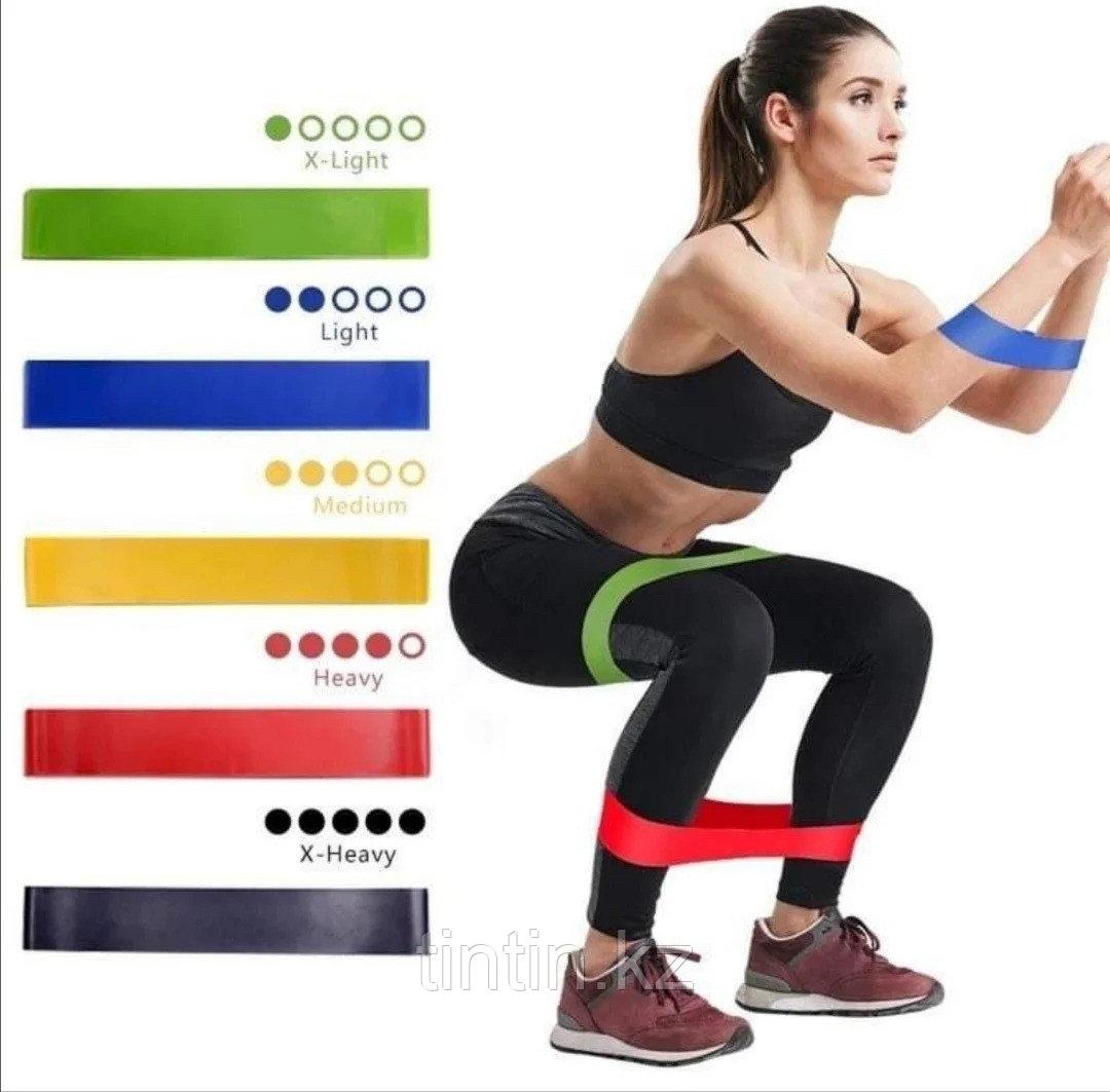 Эластичные ленточные эспандеры для фитнеса и пилатеса (фитнес резинка/лента) 60х5 см. В наборе 5 шт - фото 7