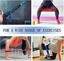 Эластичные ленточные эспандеры для фитнеса и пилатеса (фитнес резинка/лента) 60х5 см. В наборе 5 шт, фото 3