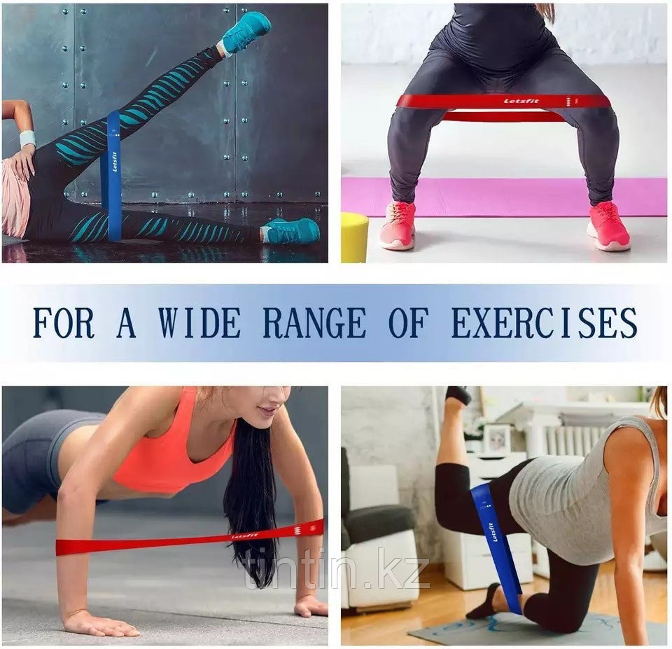 Эластичные ленточные эспандеры для фитнеса и пилатеса (фитнес резинка/лента) 60х5 см. В наборе 5 шт - фото 5