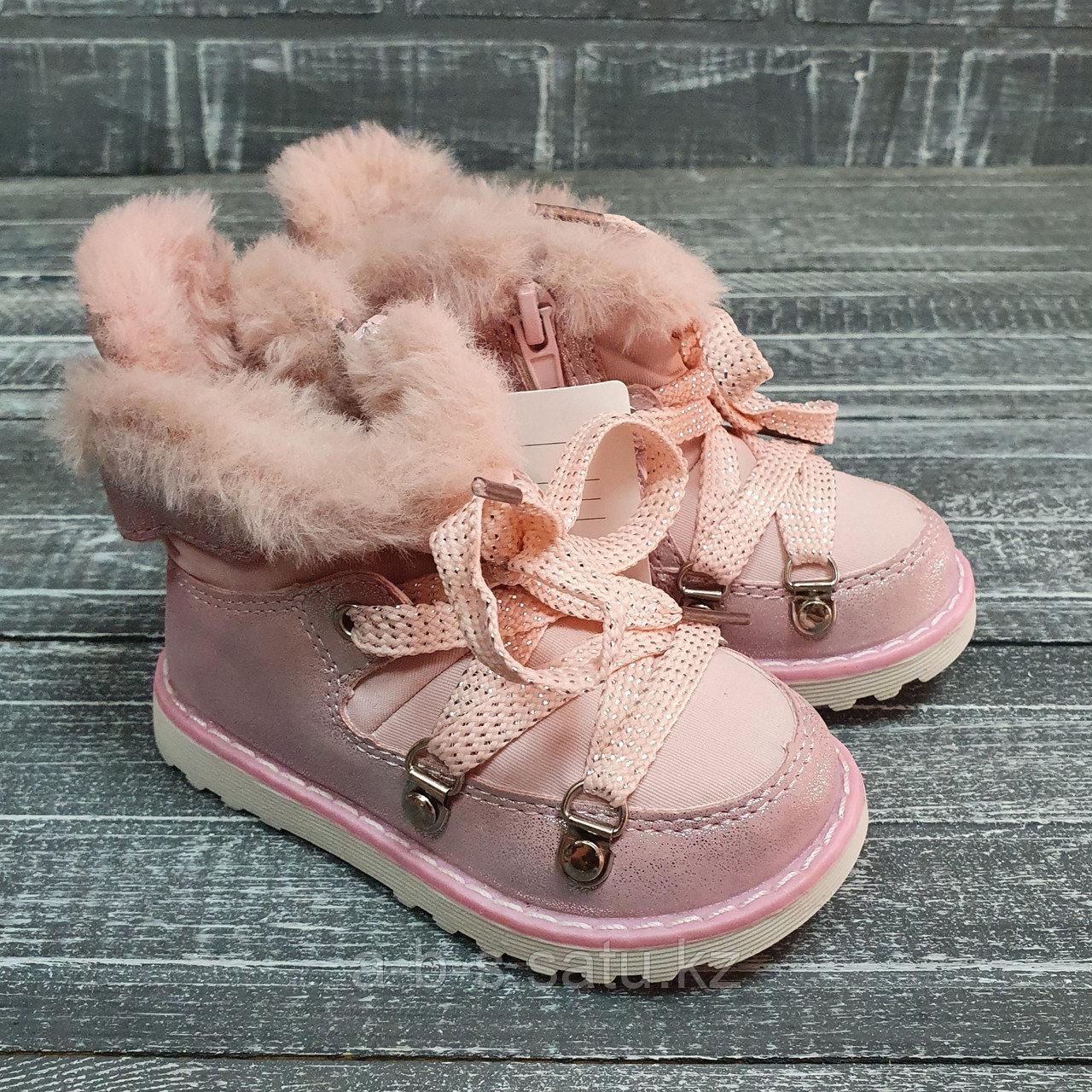 Ботинки розовые со шнуровкой  на замочке с искусственным мехом