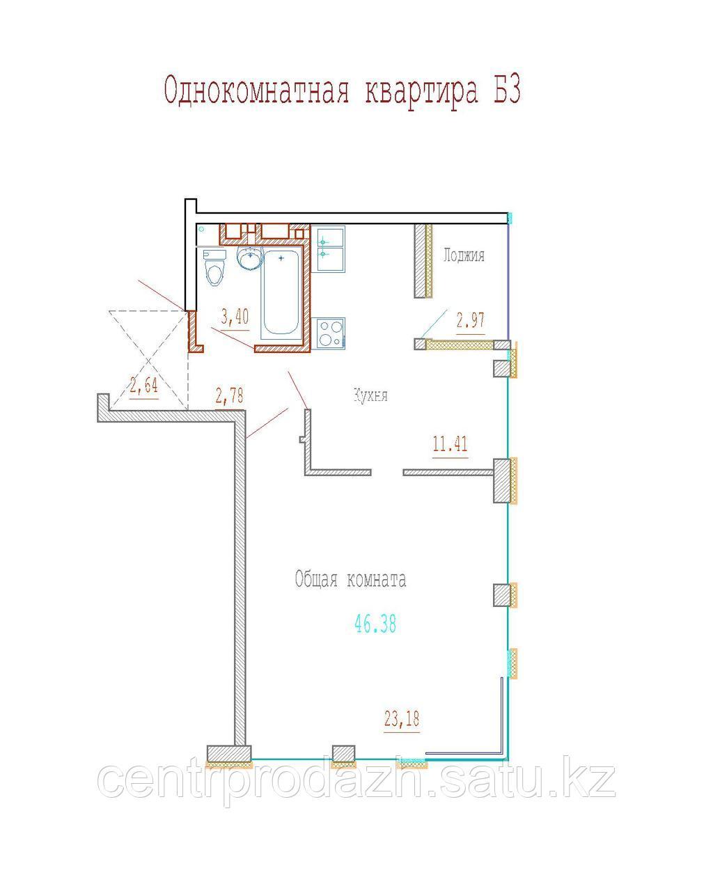 1 комнатная квартира в ЖК Кристалл 2 46 м²