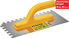 STAYER 130х270 мм, 10х10 мм, нержавеющая, пластмассовая рукоятка, гладилка штукатурная 08012-10